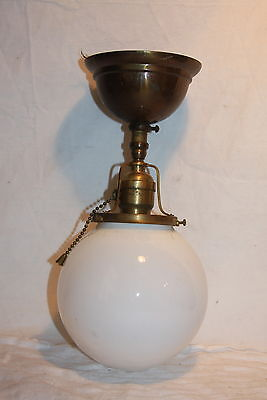 Antique Brass Ceiling Light Fixture Fixed Hanging White Globe Light Lamp Shade