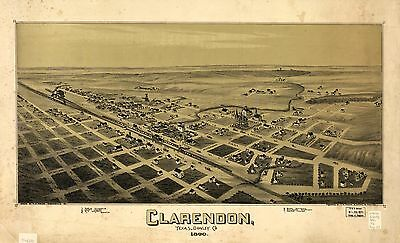 12x18 inch Reprint of American Cities Towns States Map Clarendon Donley Texas