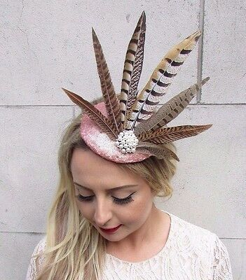 Rose Gold Ivory Sequin Brown Pheasant Feather Fascinator Pillbox Races Hat 3667