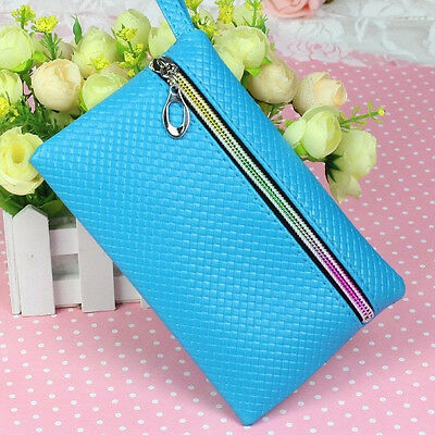 New Blue Women Card Holder Wallet Phone Coin Purse Zipper Leather Small Bag US