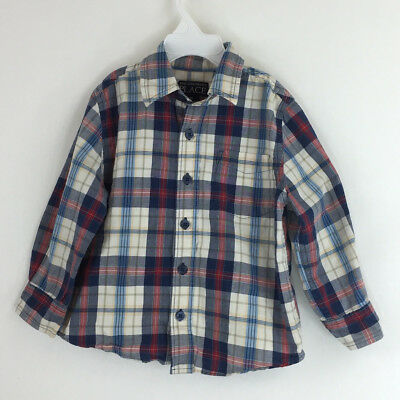Boys Top Shirt Place Cute Red White Yellow Plaid Long Sleeve Button Up 3T Blue