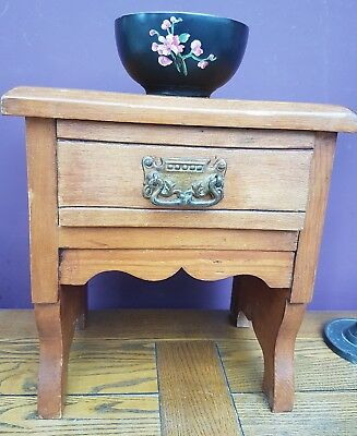 Small Vintage Wooden Table w Drawer & Lovely Ornate Brass Handle