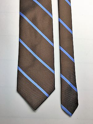 "BROOKS BROTHERS extra long 61""x3.5"" 100% silk stain resistant, brown/blue stripe"