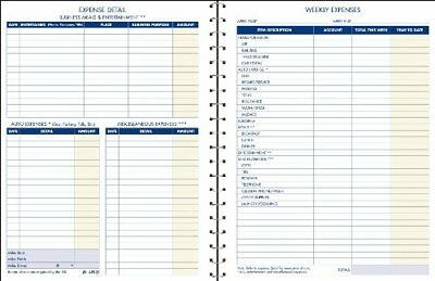 Expense Account Record Book, Spiral Binding, 8.5 x 11 Inches, Clear (AFR20)