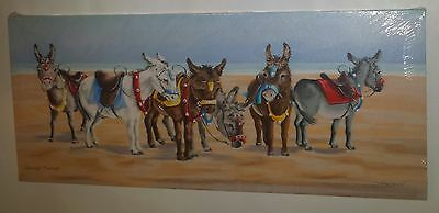 Holiday Picture British Seaside Donkeys On Beach  Canvas Wall Art Ready To Hang