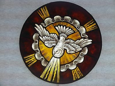 Beautiful Stained glass. Hand painted. Kiln fired. Diameter - 190 mm. New.