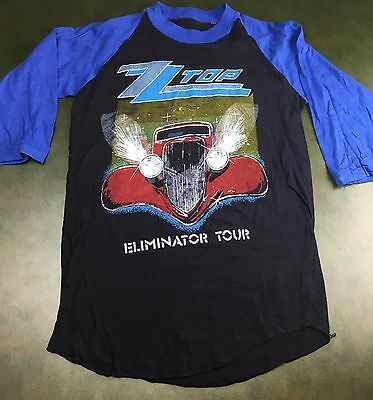 Vintage Mens M/L 1983 ZZ Top Eliminator Tour Concert Blue Black Raglan T-Shirt