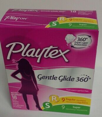 Playtex Gentle Glide Tampons, Regular and Super Multi-Pack, Fresh Scent - 18