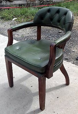 Vintage Old Green leather captains chair