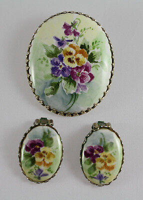 Vintage Hand Painted Brooch Pin with Clip-On Earrings Set, Yellow Purple Flowers