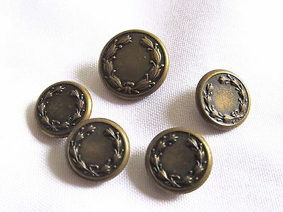 """Vintage Military Wheat Wreath Brass Lot of 5 Buttons 4pcs-5/8"""" ,1pc-3/4"""""""