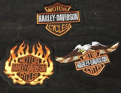 Harley-Davidson Motorcycles Patch Lot of 3 Eagle Shield Flames Bar NEW