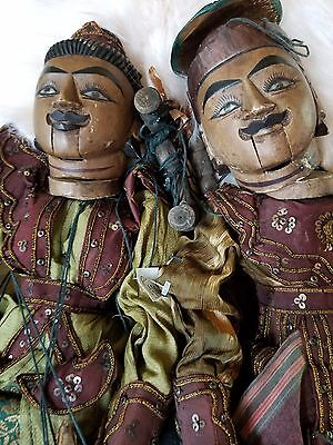 Antique Burmese Wooden Marionettes (2), ornate details articulate fingers/mouth