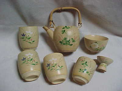 Signed Banko Ware Floral Teapot Tumblers Bowls