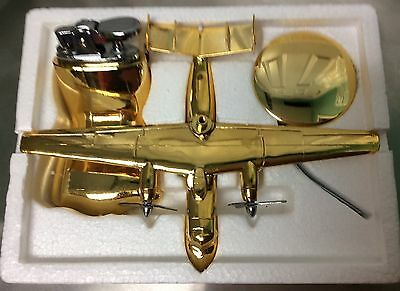 Vintage E-2C Hawkeye Aircraft Gold Metal Lighter With Stand - Made In Japan- Nib