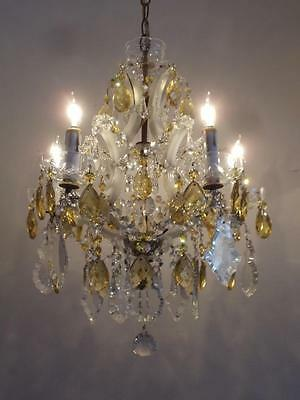 ANTIQUE VTG FRENCH OPALINE WHITE GLASS PETITE CHANDELIER w GOLD CZECH CRYSTALS