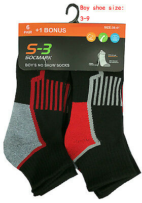 """7 Pairs Boys' Crew/Ankle/Low Cut Socks   """" Cooling & Dry & PREFORMANCE STRETCH """""""