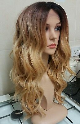 100% human hair lace wig, ombre, silk based lace, hand tied, golden blonde