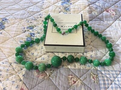 Vintage real jade and sterling silver necklace
