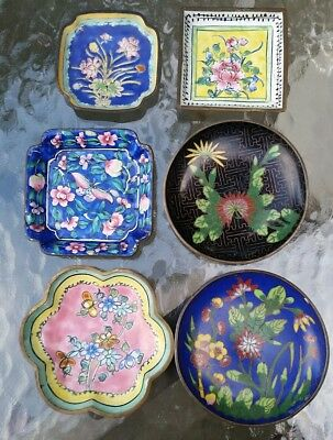 Old Chinese Canton Enamel Cloisonne Tea dishes lot vintage antique China