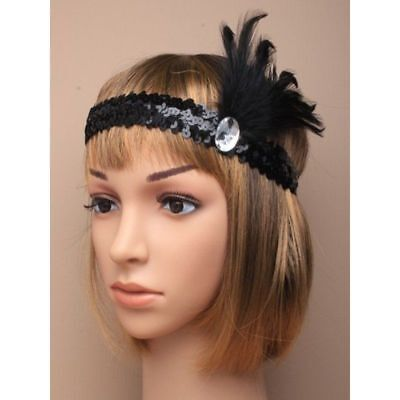 Silver Black Gold Blue Elasticated sequin Feather 1920s Gem Stone Head Hair Band