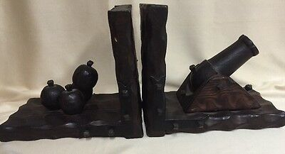 Unusual Vintage Solid  Hammered Wood Cannon With Cannonball Book Ends