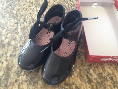 CAPEZIO GIRLS BLACK TELE TONE SLIP ON TAP SHOES SIZE 12.5M with ribbon ties