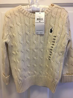 NWT Ralph Lauren Polo Baby Cable Knit Sweater - Cream 24 months