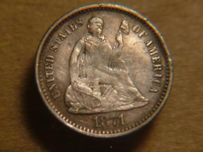 1871-S Seated Liberty Half Dime Remove from Pin, Re-engraved XF Detail SKU#12308