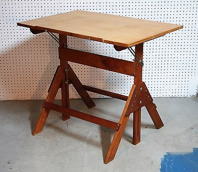 vintage ANCO BUILT solid maple  DRAFTING TABLE super clean STEEL HARDWARE ex
