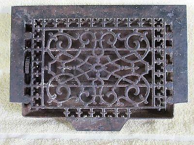 Victorian Cast Iron Floor Grille Heat Grate Register with Louvers