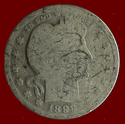 1899-P Barber 90% Silver Quarter Ships Free. Buy 5 for $2 off