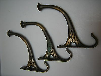 Antique Fancy Brass Coat Hooks--Set of Three
