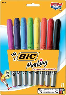 BIC Marking Permanent Marker, Fine Point, Assorted Colors, 8-Count