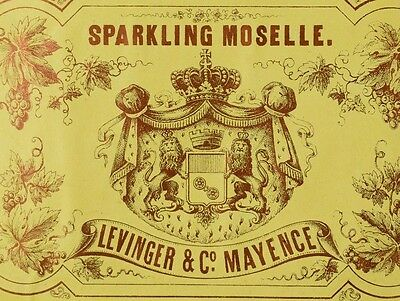 1870's-80's Sparkling Moselle Levinger & Co. Mayence Wine Bottle Label F78