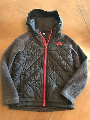 North Face Boys Black/grey Jacket With Hoodie Size M-10/12