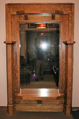 Quarter Swan Oak Over-sized Entryway Mirror Bench