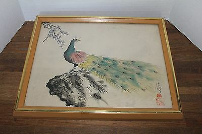 """Vintage Hand painted  Samurai Watercolor on Silk """"Peacock"""" Framed and Signed"""