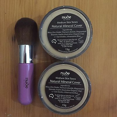 x 2 Nude by Nature Mineral Foundation - Medium Skin Tones (+ FREE BRUSH)