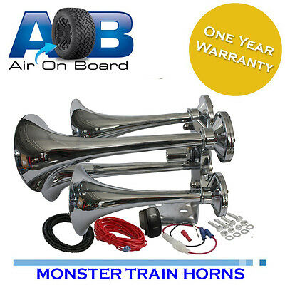 904 Train horn 12 and 24 volt 4 trumpet air horns Loudest kleinn 159db truck