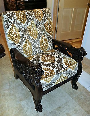 Mahogany Carved Griffin Arm Chair