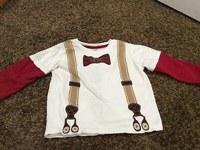 GYMBOREE boys layered look shirt with print suspenders and tie size 2t