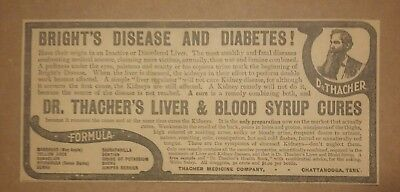 1904 Dr. Thacher's Liver & Blood Syrup Cures Ad Chattanooga, Tennessee