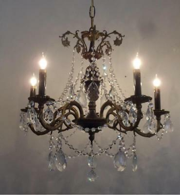 Antique Vtg French Empire Brass & Black Tole Crystal Chandelier Ceiling Lamp