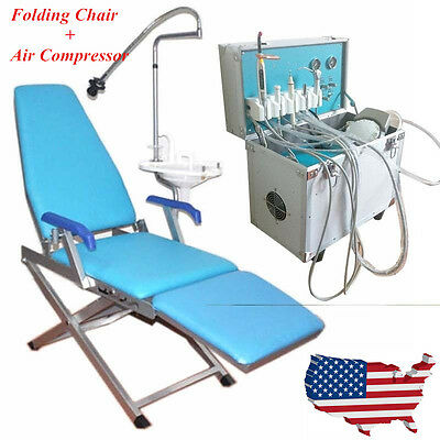 Portable Dental Delivery Unit Rolling Case w/Slow Suction+Foldable Dental Chair