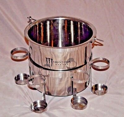 Monster Energy 2 Pc Stainless Steel Ice Bucket & Can Holder