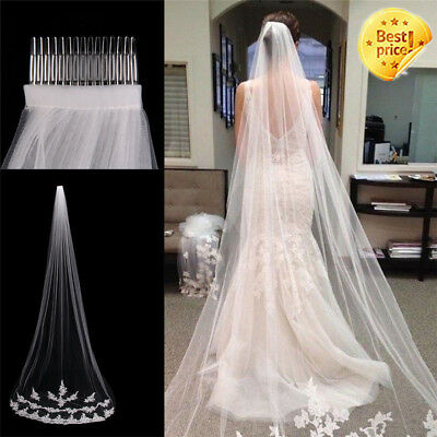 White Ivory 1T Cathedral Applique Edge Lace Bridal Wedding Veil With Comb 3M XA