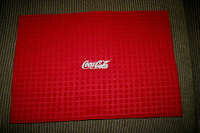"""""""Coca Cola"""" Microfiber Dish Drying Mat Red w/white thread machine embroidered"""