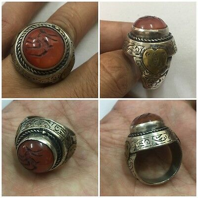 Men's Engraved Carnelian Rings Islamic Ethnic Vintage Agate Deer Intaglio 10.5
