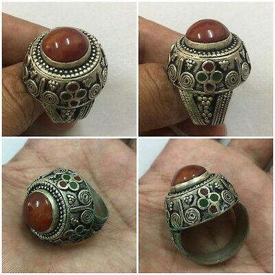 Men Engraved Carnelian Rings Near Eastern Vintage Islamic Agate Intaglio 10.5